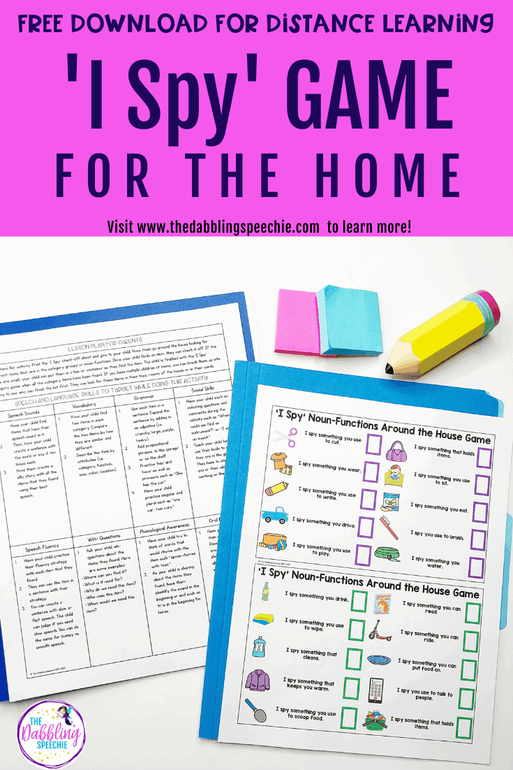 'I Spy' language game to build vocabulary at home and work on other speech and language goals. This speech activity can be used to help coach parents during distance learning.
