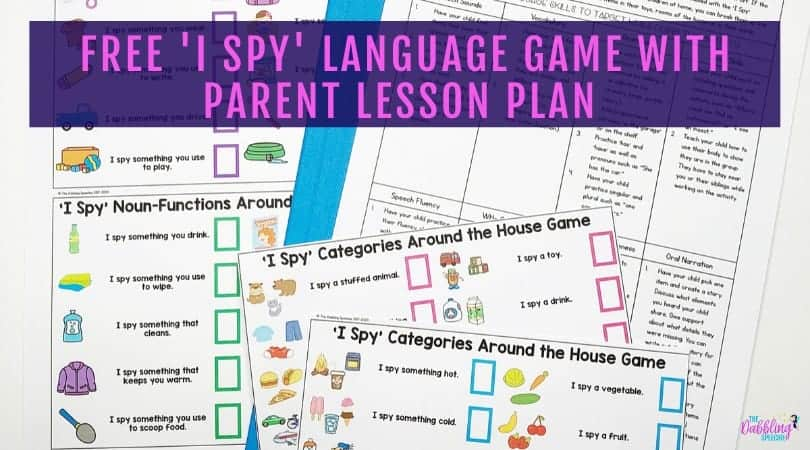 FREE 'I Spy' Language Game for Parents