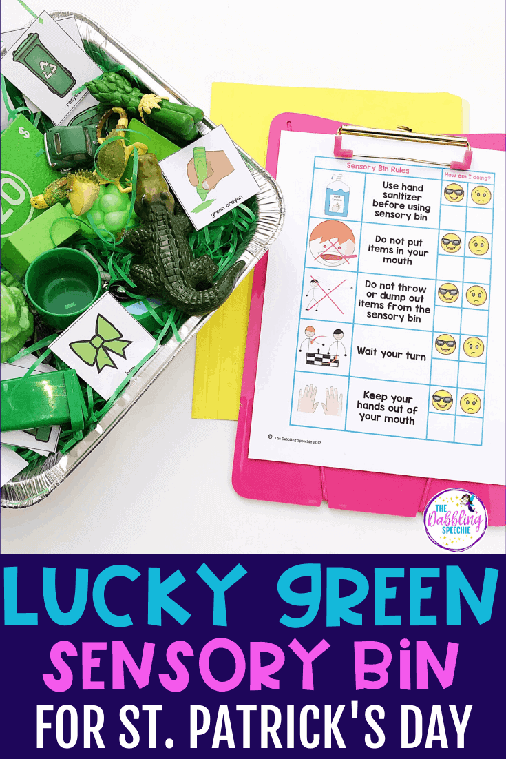 Need an activity to cover mixed groups for St. Patrick's Day? Go around your speech room and find your green toys and items. Throw them in a sensory bin and now you have the perfect speech and language sensory bin. Use this lucky green sensory bin to target grammar, vocabulary, describing, and articulation and phonology.