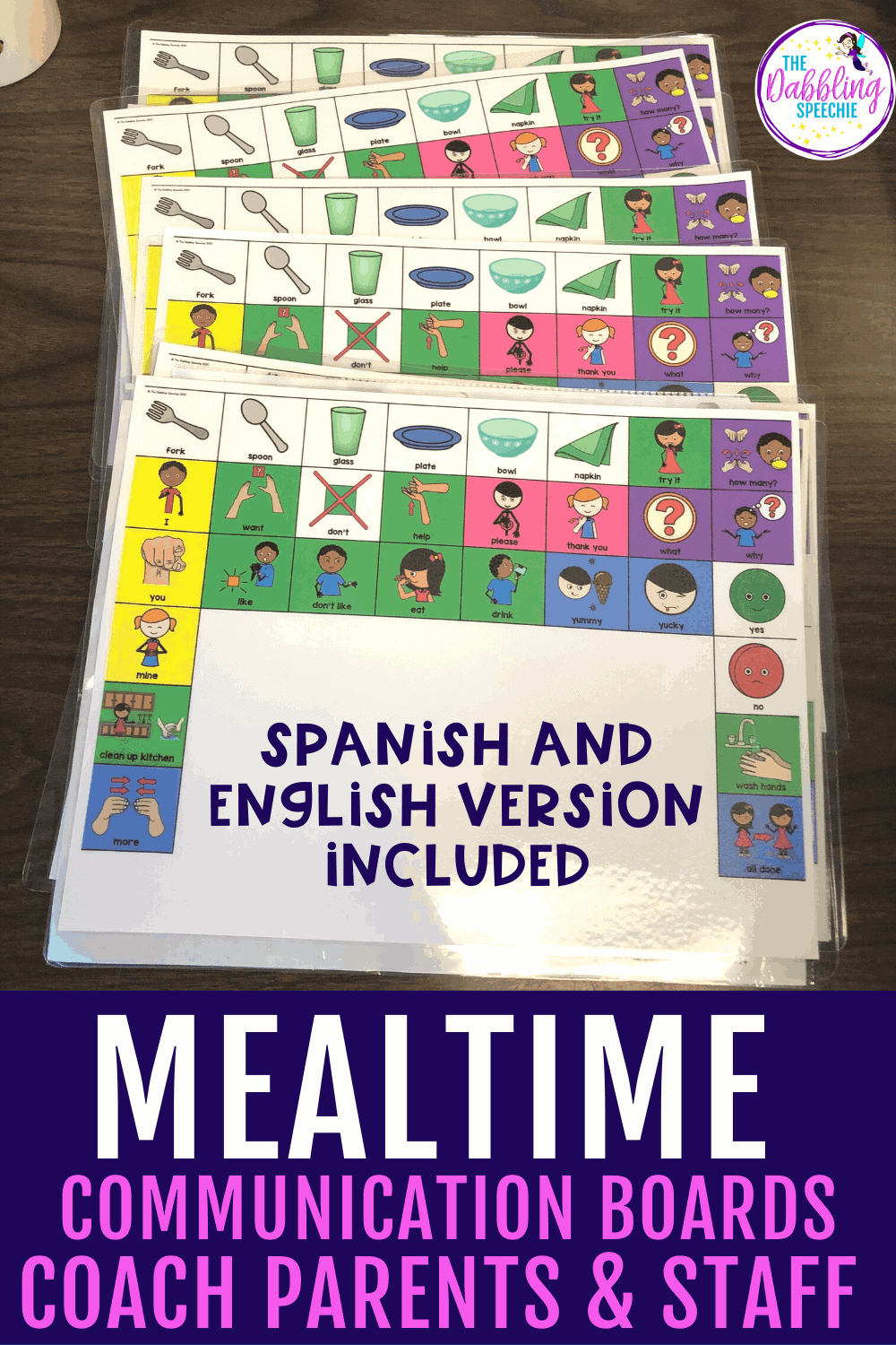 Mealtime AAC communication board free download to work on teaching communication functions at school or home. Coach parents with an easy to implement parent handout guide.