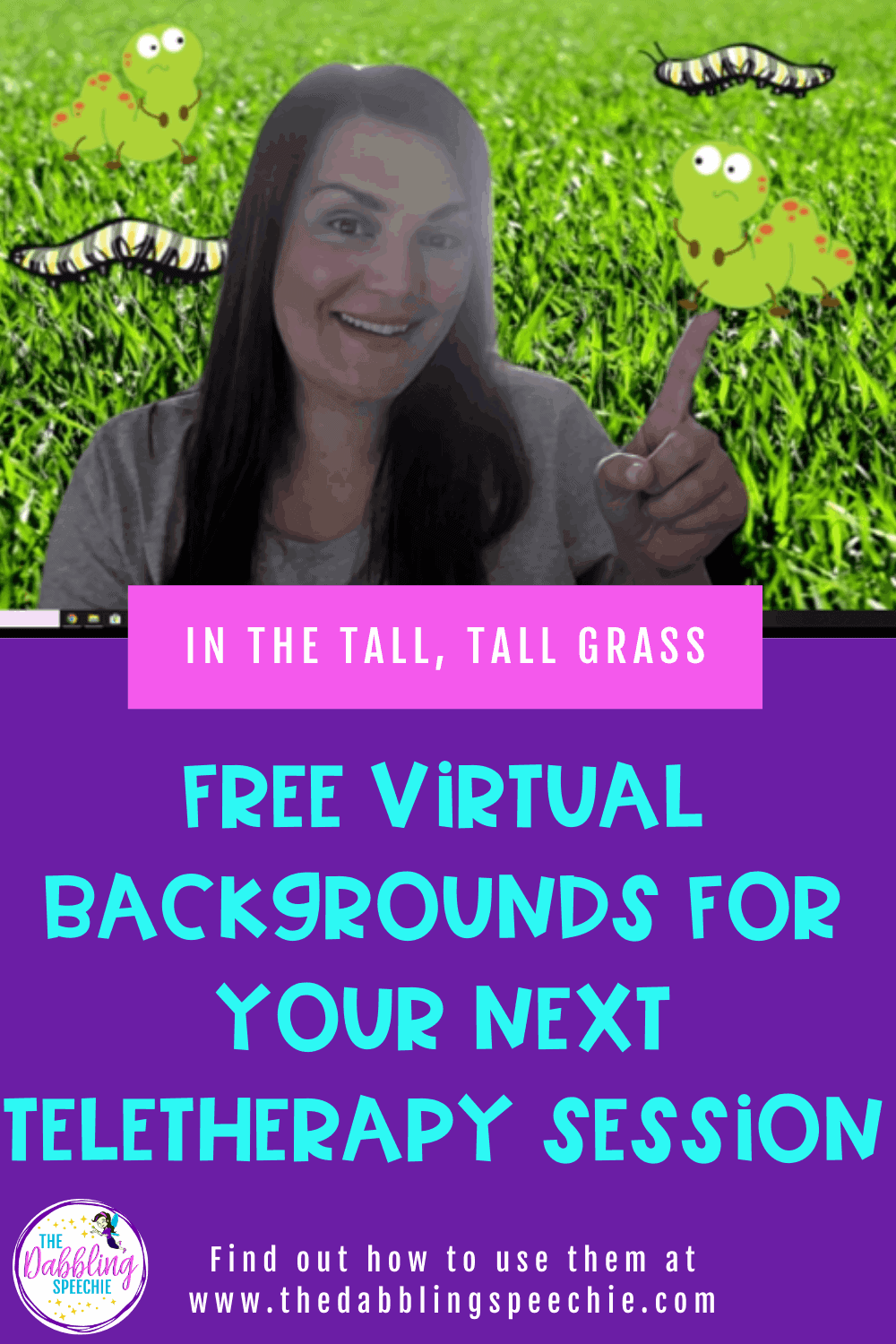 In the Tall, Tall Grass teletherapy activity to engage your students in speech therapy with tips for how to change out your virtual backgrounds.