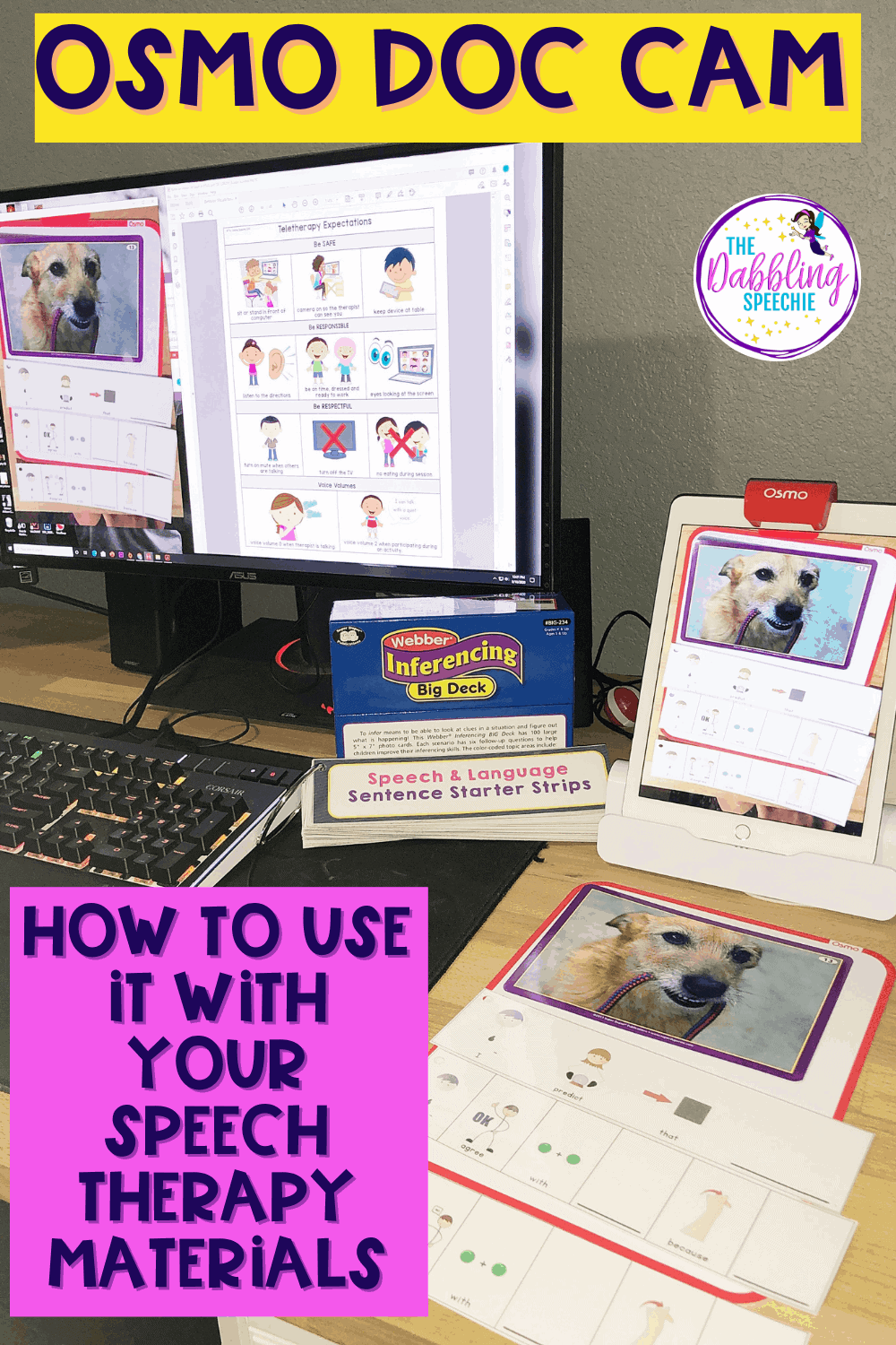 OSMO speech therapy guide to use as a document camera