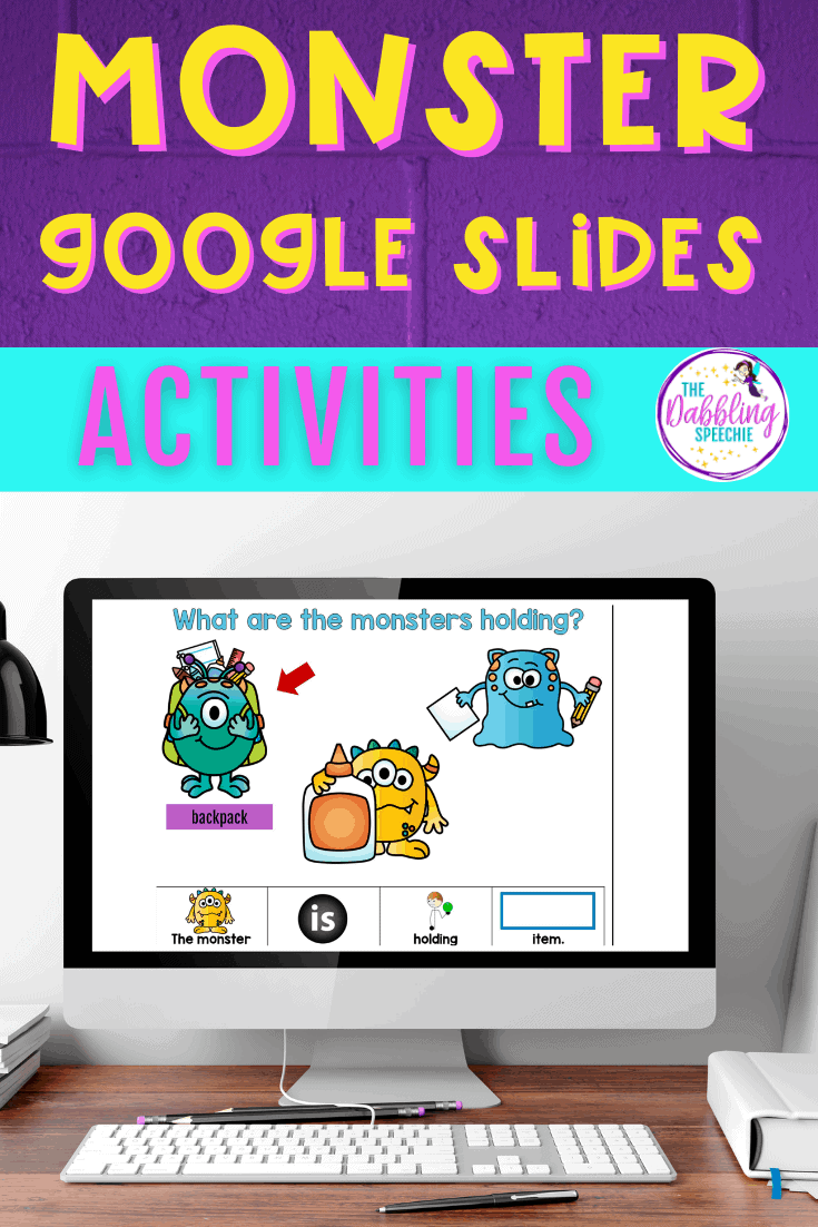 Digital monster activities for speech therapy
