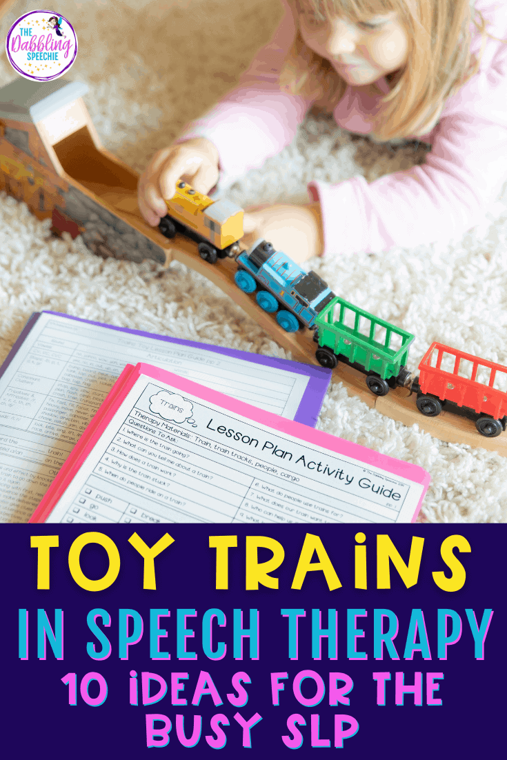 Easy ideas for using a toy train in speech therapy for the busy SLP