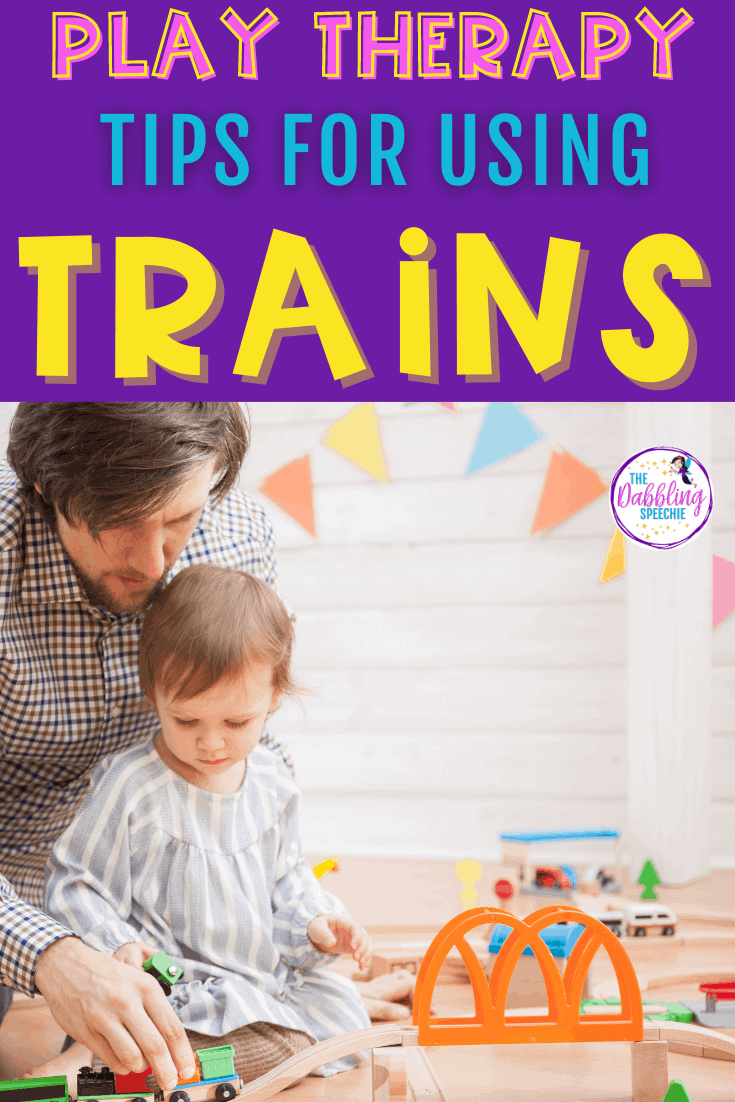 Toy Train speech therapy ideas for play-based therapy.