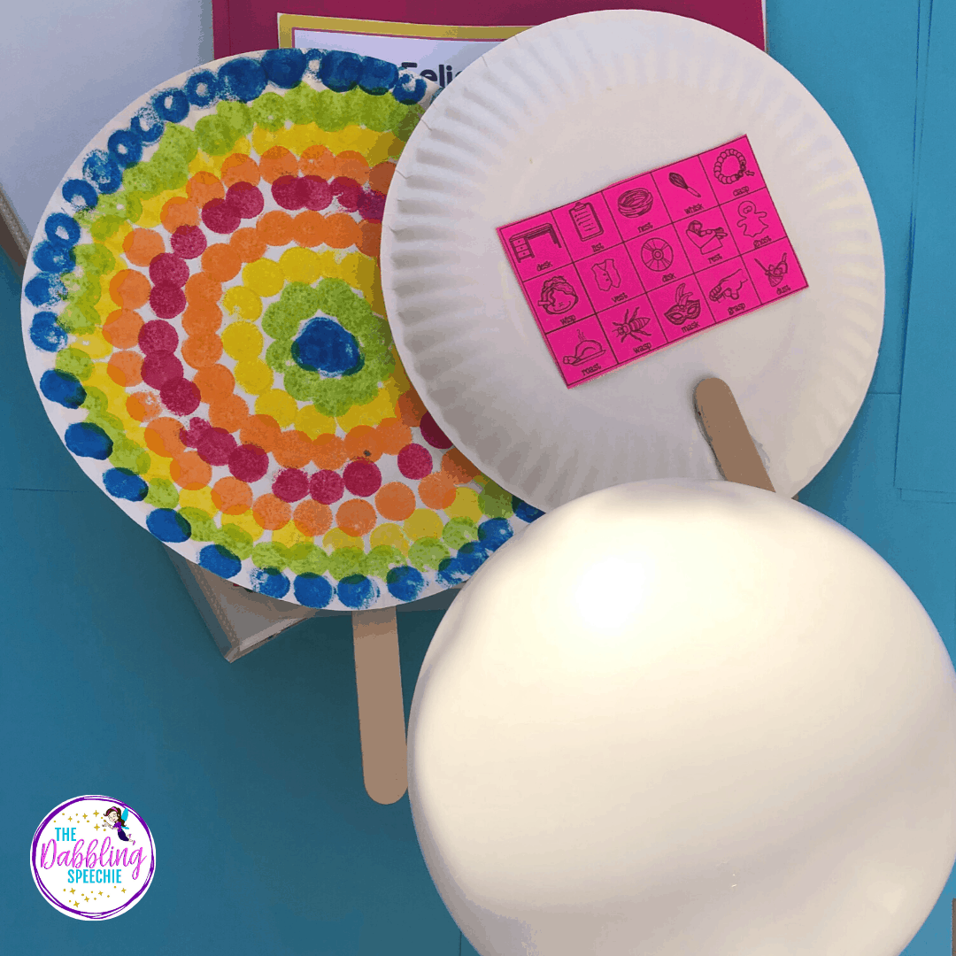 Paper plate paddles for speech sound disorders that will increase trials and incorporate movement into your speech therapy sessions.