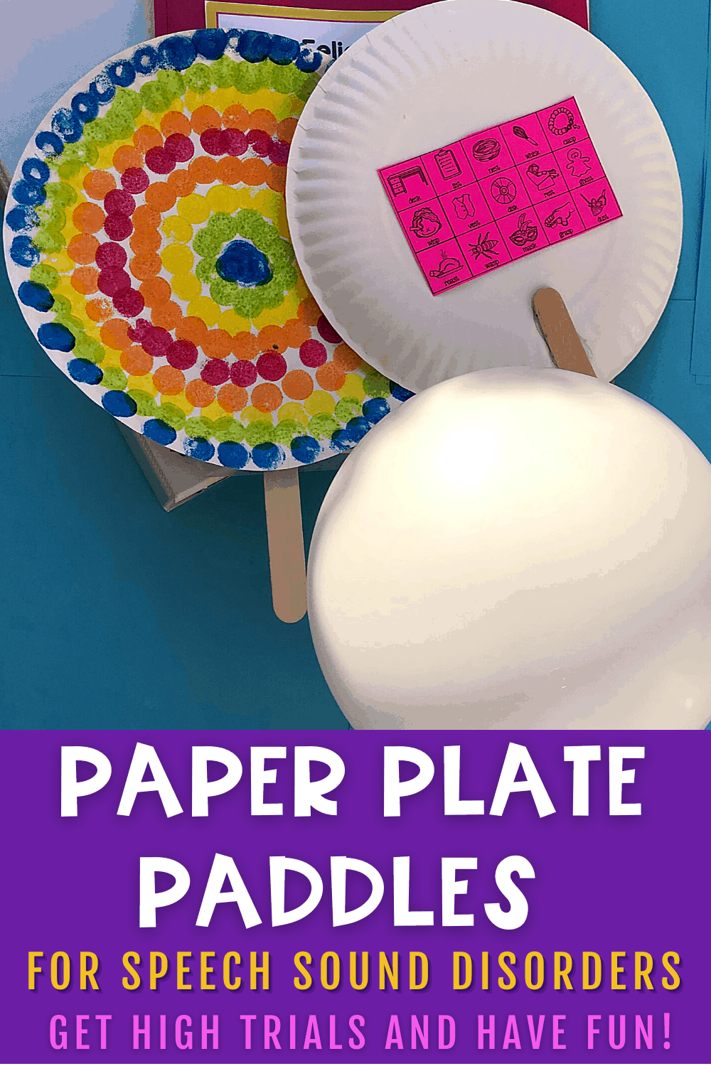 Paper Plate paddle crafts for speech therapy to help get high trials with speech sound disorders