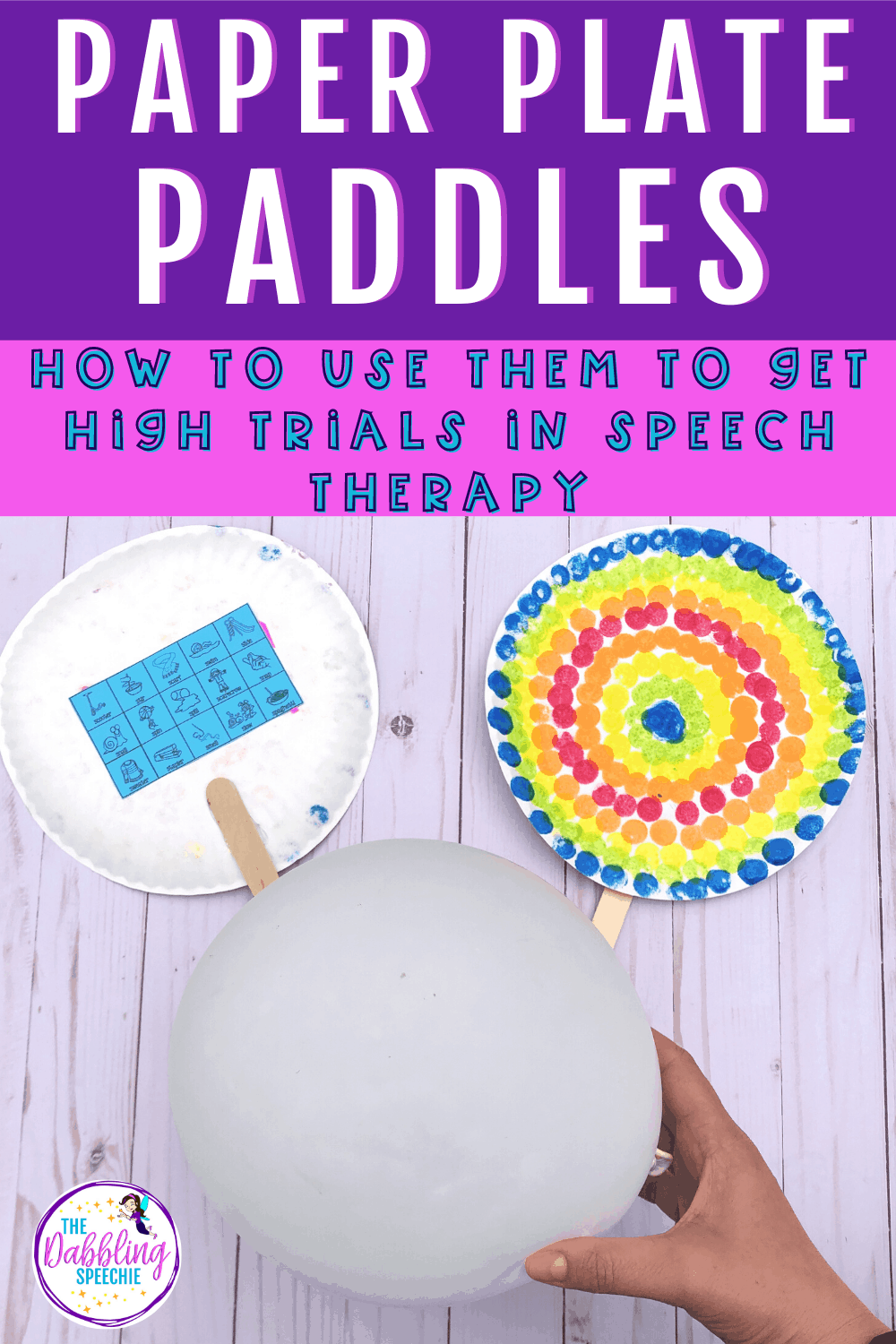 paper plate paddle craft for speech therapy that can help you get high trials in your speech sessions. Use this craft to add movement into your speech sound disorder treatment sessions.