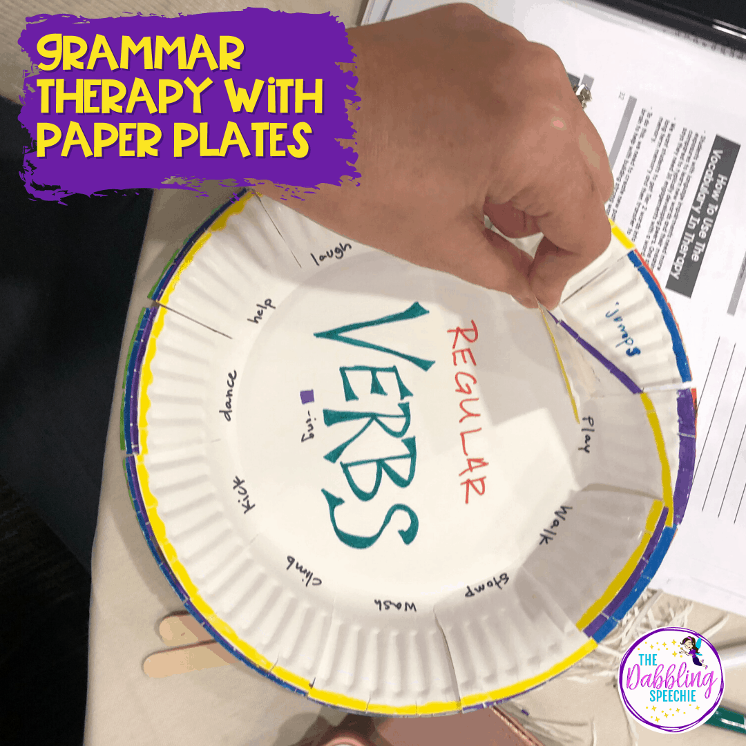 Conversational recast using this paper plate activity in grammar therapy