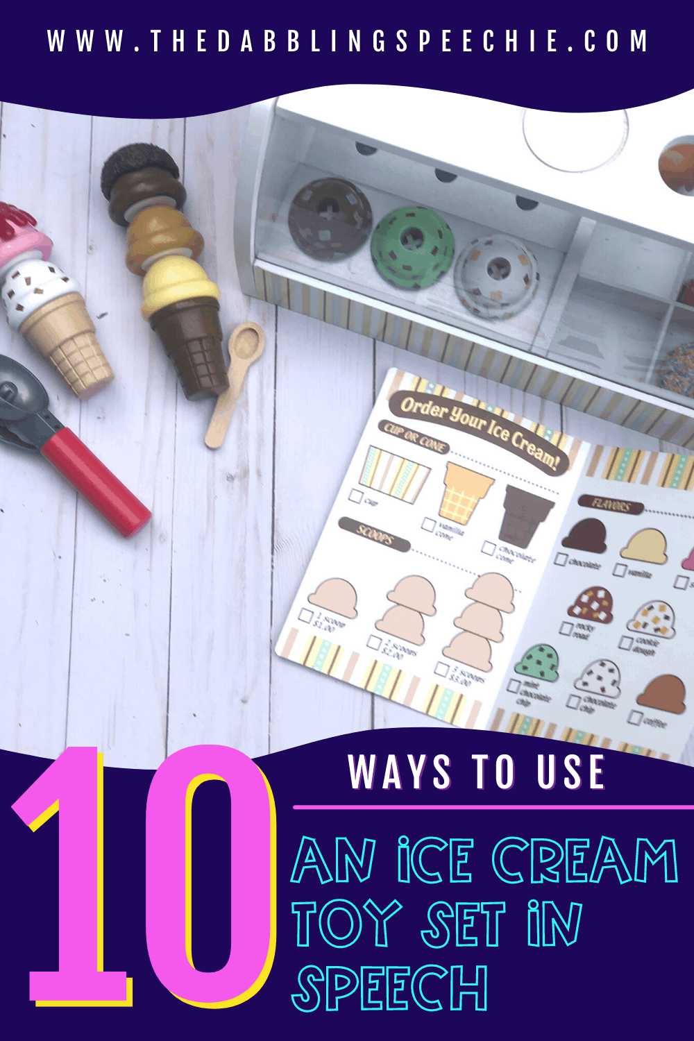 Engage your speech therapy students with these 10 ideas for using an ice cream toy set in speech therapy! So many speech skills can be targeted with it.