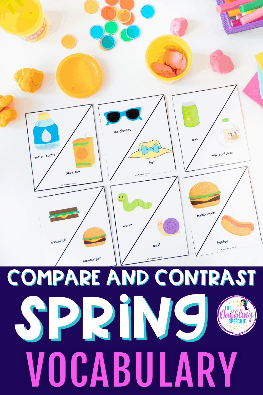 Use spring vocabulary to teach transition words while comparing and contrasting nouns