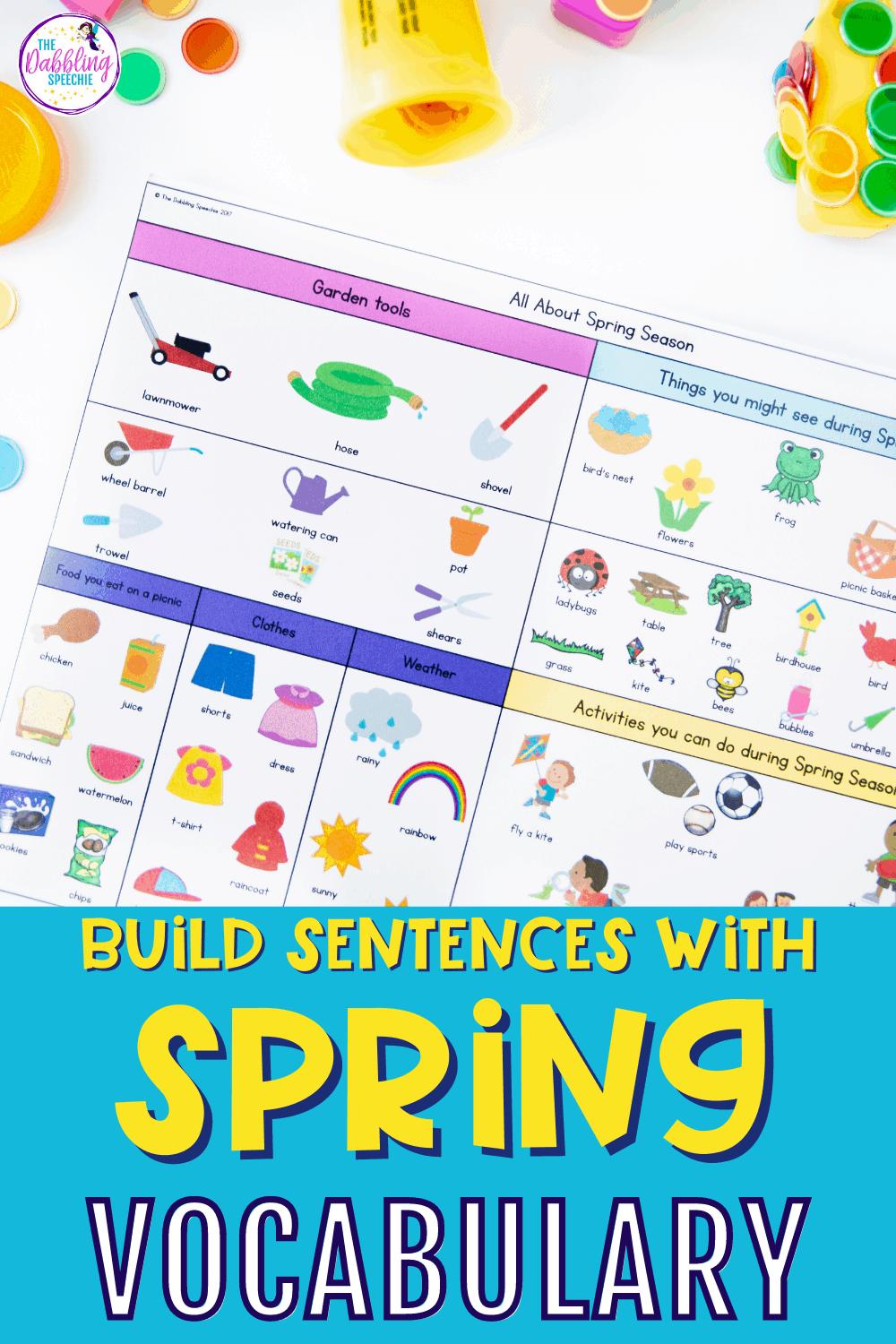 Use spring vocabulary in grammatically correct sentences to work on using verbs in functional sentences.