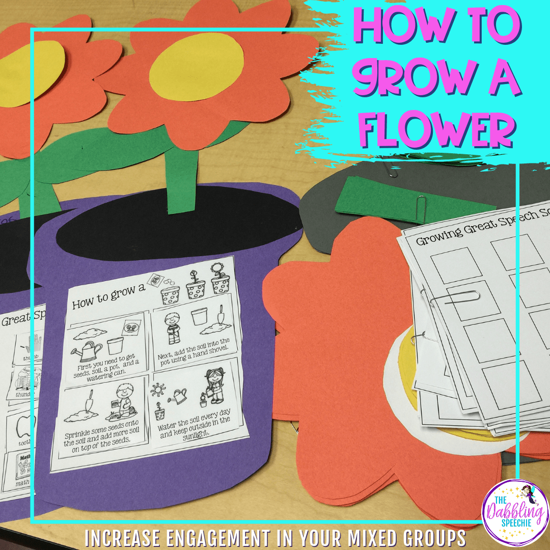 Flower craft for speech therapy to use with mixed groups.