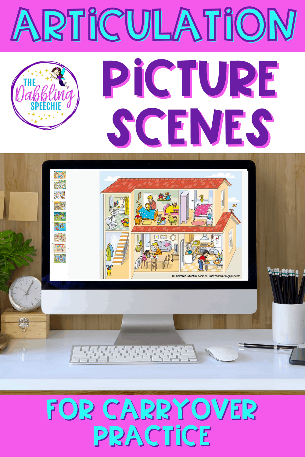 Check out how I found articulation picture scenes to work on articulation carryover. You can also use these articulation picture scenes to work on fluency and language goals.