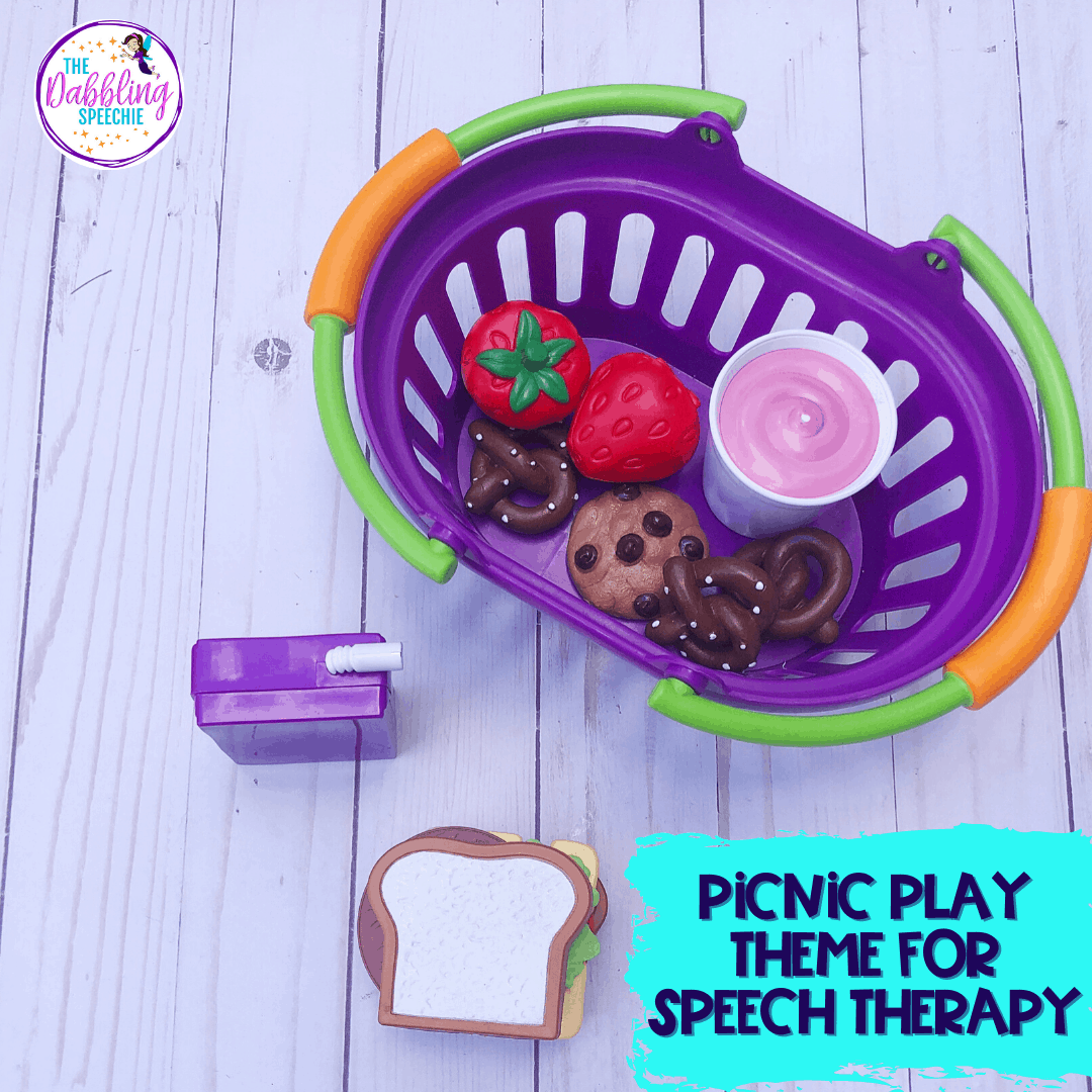Spring play themes to work on speech and language goals during play therapy.