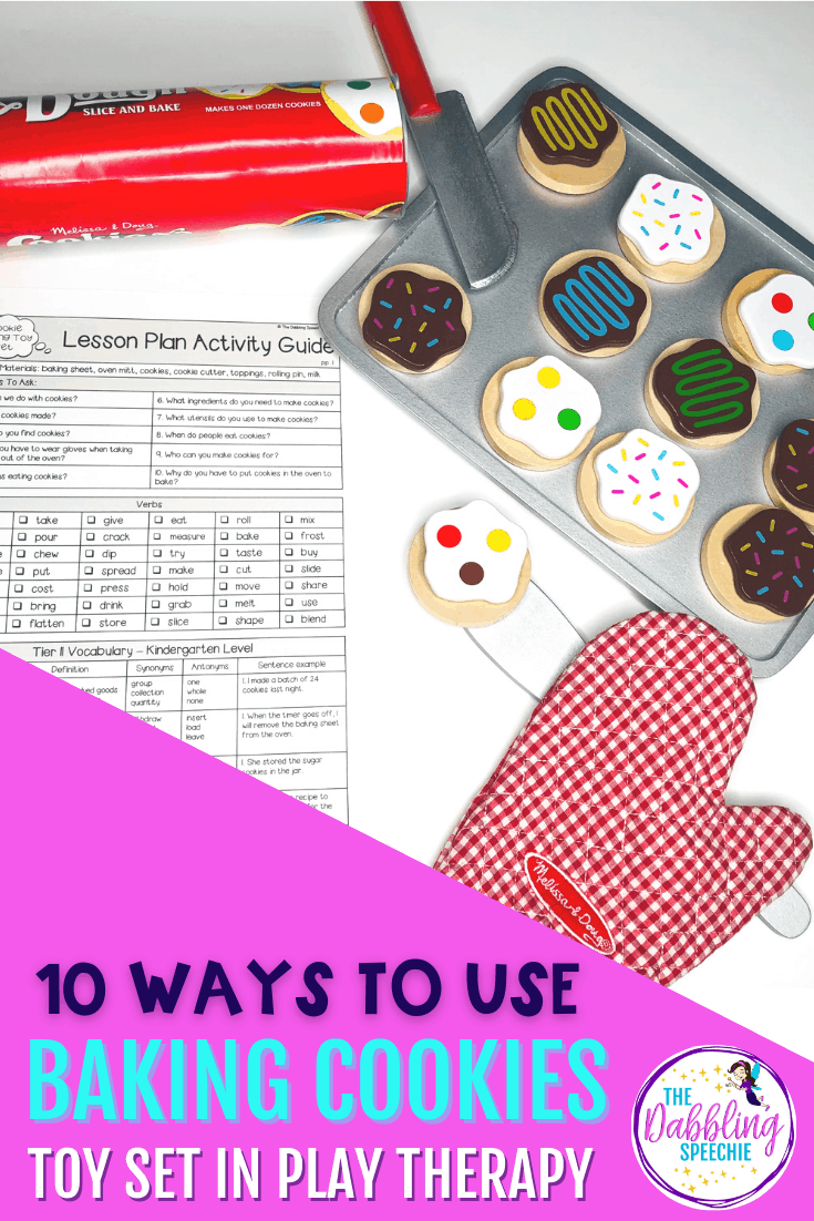 Engage your speech therapy students with these 10 ideas for using a baking cookies toy set in speech therapy! So many speech skills can be targeted with it.