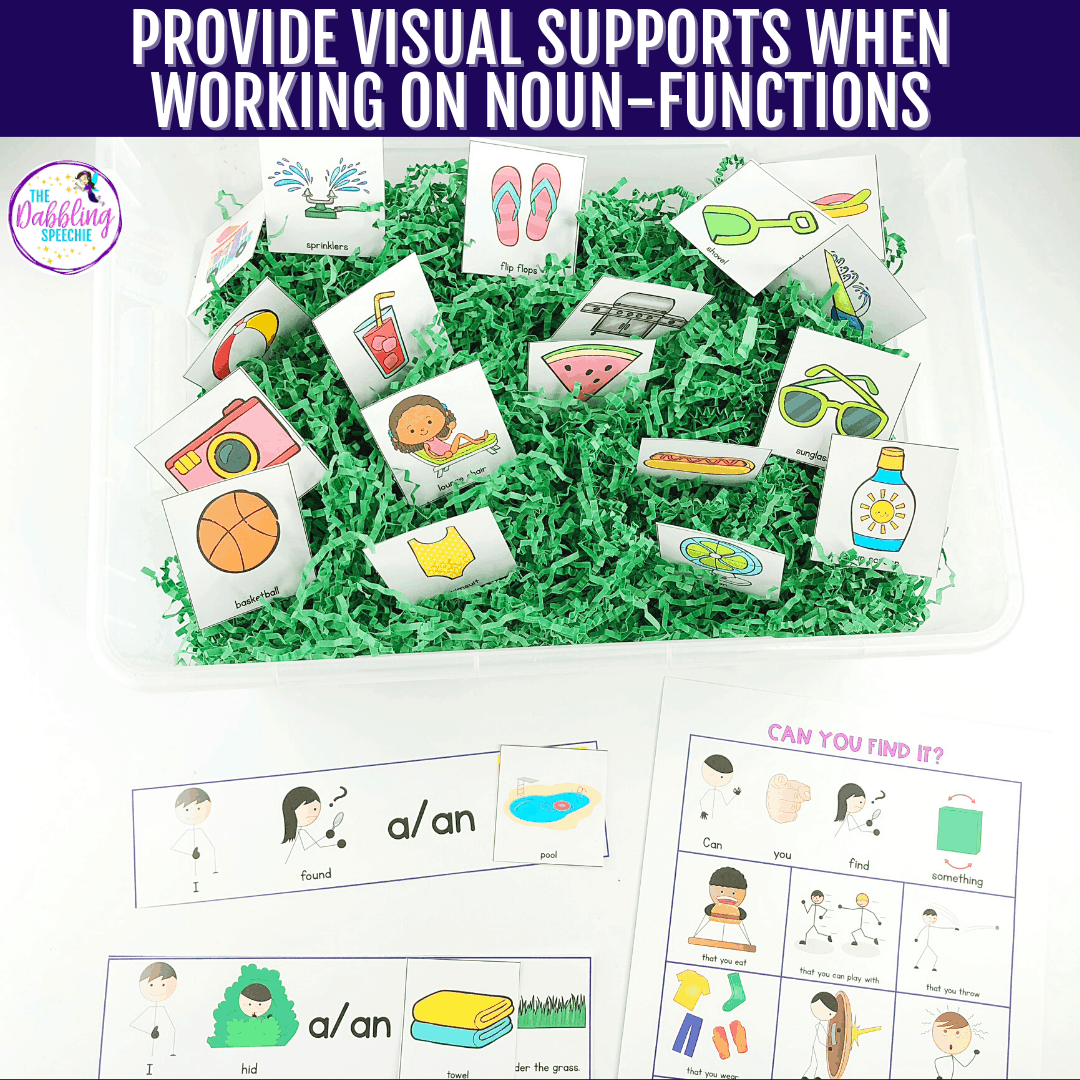 Make a noun function sensory bin to engage your students while working on language concepts in speech therapy. Check out how you can make this easy sensory bin and use for weeks!