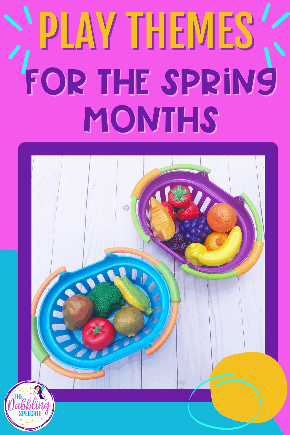Use these spring play themes to cover your speech and language goals with your preschool to 2nd grade students.