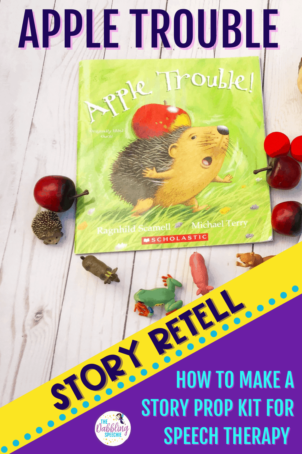 Make a DIY Apple Trouble Story Prop Kit to target speech and language goals