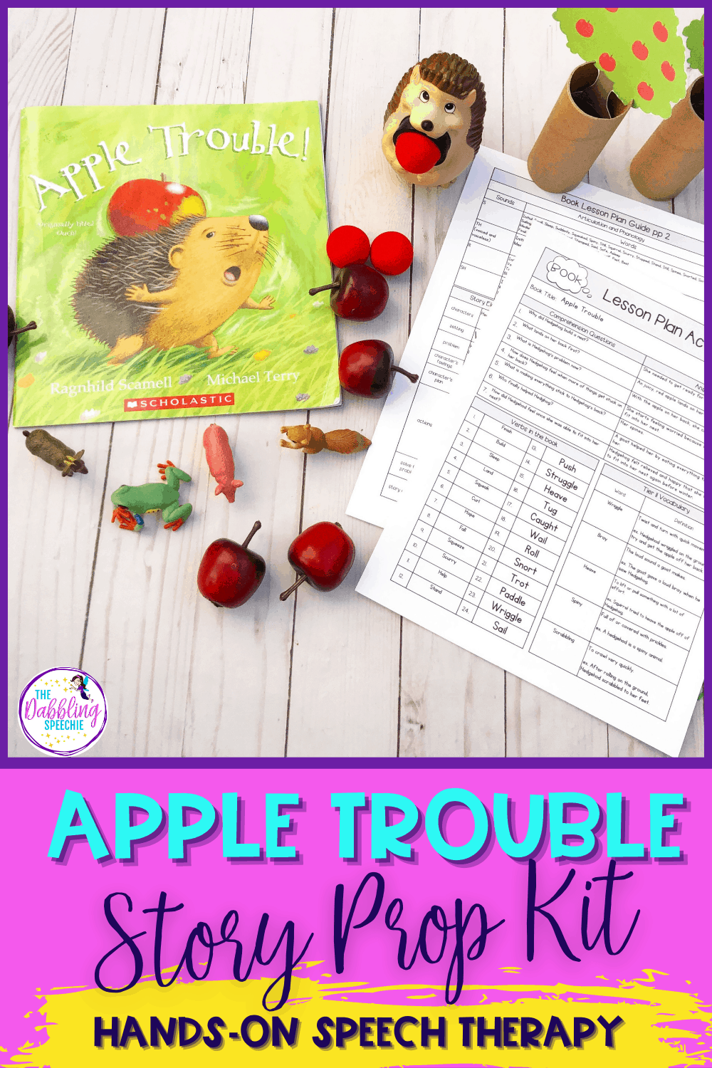 Making an Apple Trouble Story Prop Kit to increase engagement in your language therapy sessions